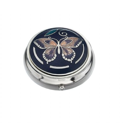 Pill Box Silver Plated Butterfly and Leaf Design Purple Brand New and Boxed
